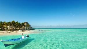 Beautiful beach in Isla Mujeres, Mexico.